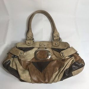 Guess patchwork leather brown and tan boho bag